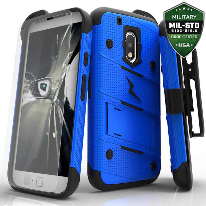 designer fashion 14f00 ac353 Play Bolt Case with Stand for Motorola Moto G Play (Blue & Black ...