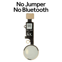 HX Universal Home Button (No Bluetooth, No Jumper Required) for Apple iPhone 7, 7 Plus, 8, & 8 Plus (White with Silver Ring)