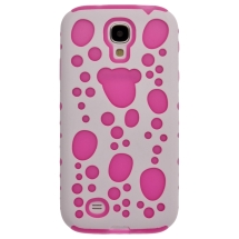 Hybrid Bubble Case for Samsung Galaxy S4 (White & Hot Pink) (Closeout)