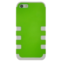 TUFF Hybrid Case for Apple iPhone 5, 5S (Neon Green & White) (Closeout)