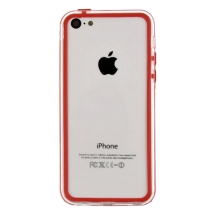 Protective Bumper for Apple iPhone 5C LIte (Red & Transparent Clear) (Closeout)