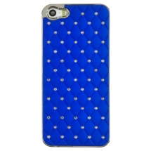 Shield for Apple iPhone 5, 5S (Chrome Diamonds on Blue) (Closeout)