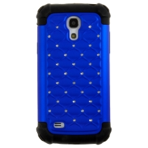 Hybrid Case Samsung Galaxy S4 Mini (Diamonds on Blue & Black) (Closeout)