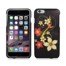 Shield for Apple iPhone 6 Plus (White & Red Flowers on Black) (Closeout)