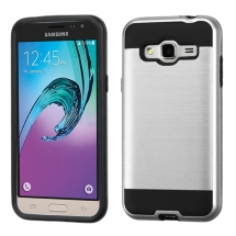 Brushed 2 Piece Hybrid Case for Samsung Galaxy J3 (Silver & Black) (Closeout)