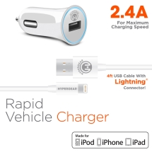 Naztech 2.4 Amp Rapid Vehicle Charger with 4 ft MFi Lightning Cable (White)