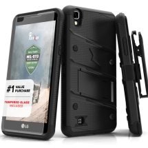 Bolt Case for LG X Power (Black) (Includes Kickstand, Holster, and Tempered Glass Screen Protector) (Closeout)