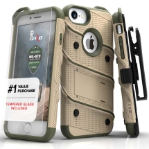Zizo Bolt Case with Stand for Apple iPhone 6, 6S, 7, & 8 (Desert Tan & Camo Green)