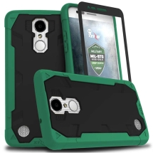 Zizo Proton 2.0 Case with Kickstand and Tempered Glass Screen Cover for LG V3 (Emerald Green & Solid Black) (Closeout)