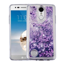 Quicksand Glitter Hybrid Case for LG K8 (2017) (Hearts & Purple) (Closeout)