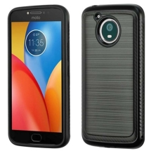 Brushed 2 Piece Hybrid Case for Motorola Moto E4 Plus (Carbon Fiber Black & Black) (Closeout)