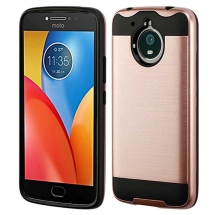Brushed 2 Piece Hybrid Case for Motorola Moto E4 Plus (Rose Gold & Black) (Closeout)