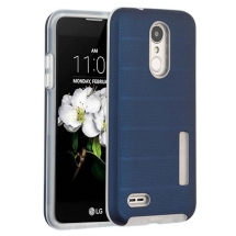 Advanced Armor Textured Case for LG K8 (2018) (Ink Blue Dots & Clear)