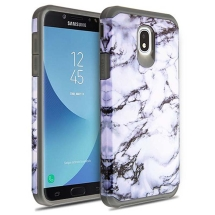 Advanced Armor Case for Samsung Galaxy J7 (2018) (White Marble & Grey)