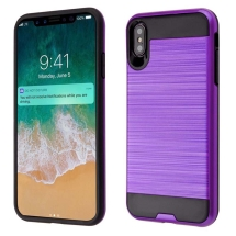 Brushed 2 Piece Hybrid Case for Apple iPhone XS Max (Purple & Black)