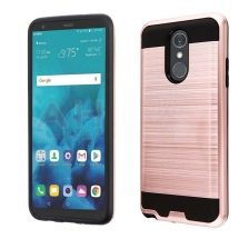 Brushed 2 Piece Hybrid Case for LG Stylo 4 (Rose Gold & Black)