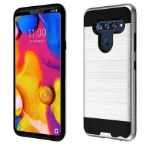 Brushed 2 Piece Hybrid Case for LG V40 ThinQ (Silver & Black) (Closeout)