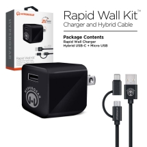 Naztech HyperGear Cube 2.4 Amp Rapid Wall Charger with Micro to Type C USB Adapter Cable