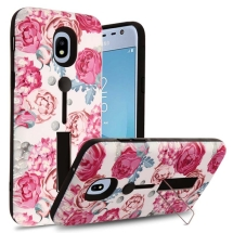 Finger Grip Hybrid Case for Samsung Galaxy J3 (2018) (Victorian Flower & Black) (Closeout)