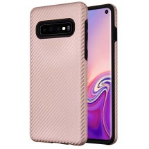 Advanced Armor Case for Samsung Galaxy S10 (Rose Gold Carbon Fiber & Black)