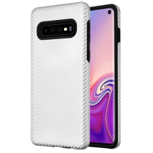Advanced Armor Case for Samsung Galaxy S10 (Silver Carbon Fiber & Black Fuse)