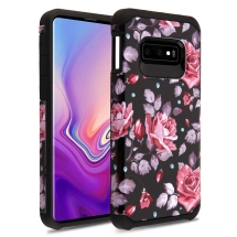 Brushed 2 Piece Hybrid Case for Samsung Galaxy S10e (Roses & Black)