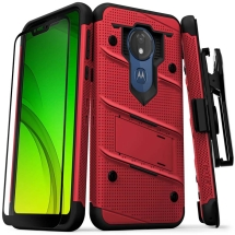 Zizo Bolt Case with Stand for Motorola Moto G7 Power (Red & Black)