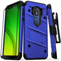 Zizo Bolt Case with Stand for Motorola Moto G7 Power (Blue & Black)