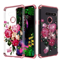 MYBAT Klarion Cover Case for LG G8 ThinQ (Pink Flowers & Rose Gold)