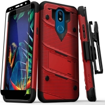 Zizo Bolt with Stand Case for LG K40 (Red & Black)
