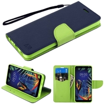 MYBAT Crossgrain Wallet Case for LG K40 (Dark Blue & Green)