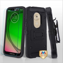 MYBAT Kinetic Hybrid Case for Motorola Moto G7 Play (Black & Black)