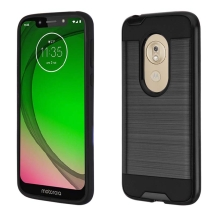 Brushed 2 Piece Hybrid Case for Motorola Moto G7 Play (Black & Black)