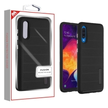 MBYAT Textured Fusion Case for Samsung Galaxy A50 (Black Dots & Black)