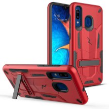 Zizo Transformer 2 Piece Hybrid Case with Stand for Samsung A20 (Red & Black)