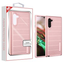 MYBAT Textured Fusion Case for Samsung Galaxy Note 10 (Rose Gold Dots & Rose Gold)
