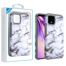 Advanced Armor Case for Google Pixel 4 XL (White Marble & Gray)