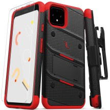 Zizo Bolt Case with Stand for Google Pixel 4 (Black & Red)