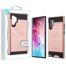 Brushed 2 Piece Hybrid Case for Samsung Galaxy Note 10+ (Rose Gold & Black)